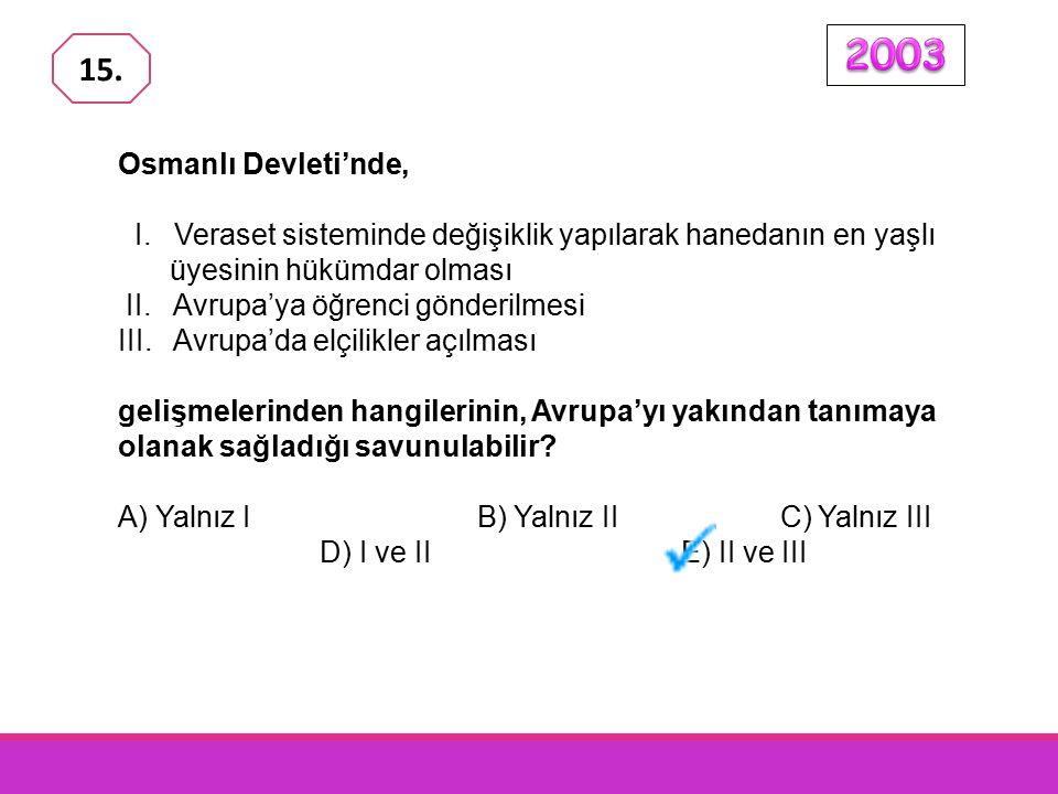 2003 15. Osmanlı Devleti'nde, I. Veraset sisteminde değişiklik yapılarak hanedanın en yaşlı üyesinin hükümdar olması.