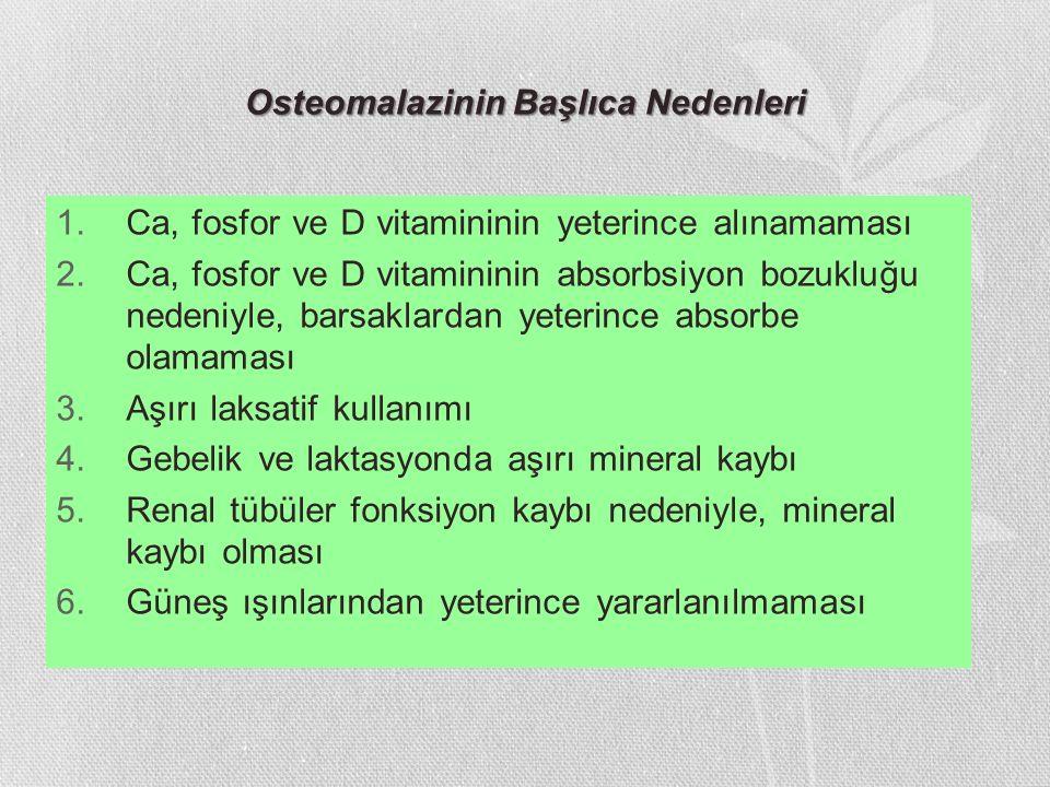 Osteomalazinin Başlıca Nedenleri
