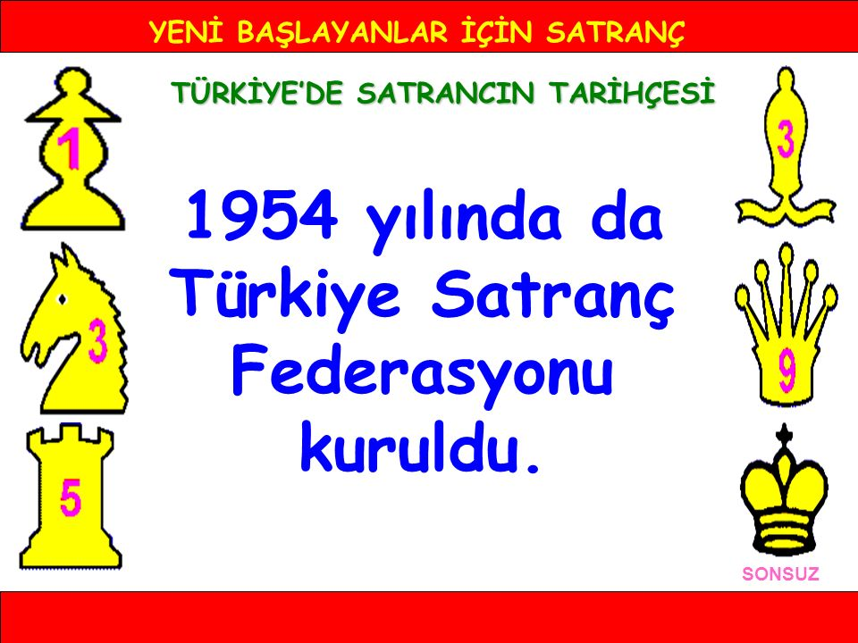 1954 yılında da Türkiye Satranç Federasyonu kuruldu.