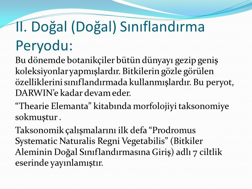 II. Doğal (Doğal) Sınıflandırma Peryodu: