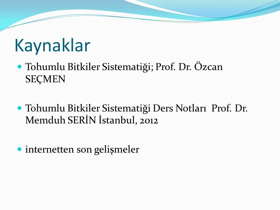 Kaynaklar Tohumlu Bitkiler Sistematiği; Prof. Dr. Özcan SEÇMEN