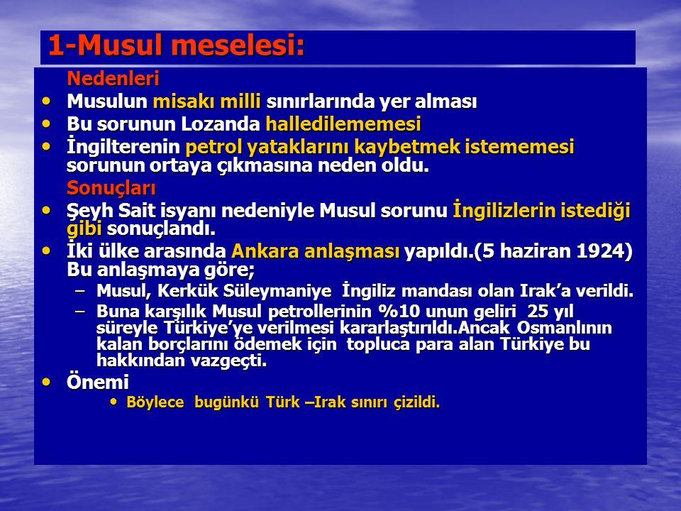 1-Musul meselesi: Nedenleri