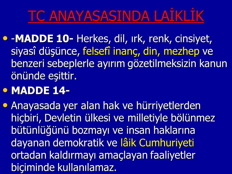 TC ANAYASASINDA LAİKLİK