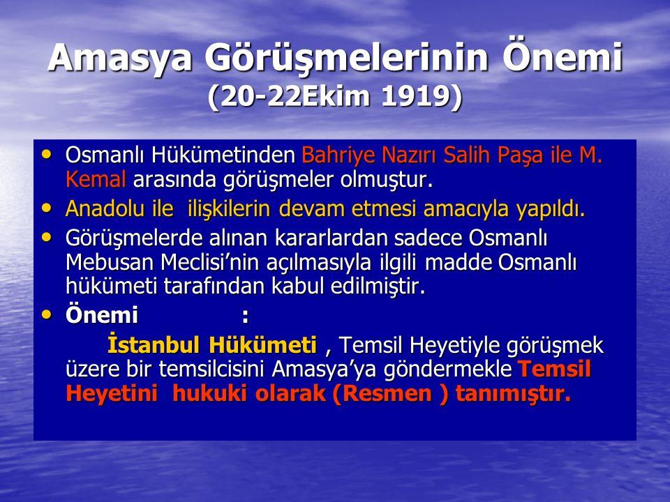 Amasya Görüşmelerinin Önemi (20-22Ekim 1919)