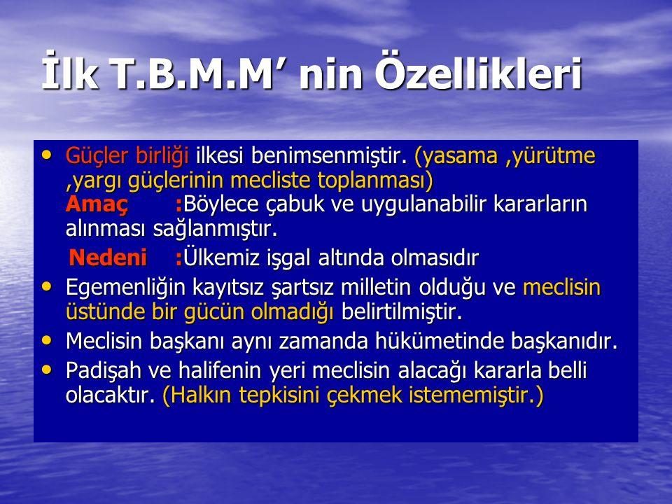İlk T.B.M.M' nin Özellikleri
