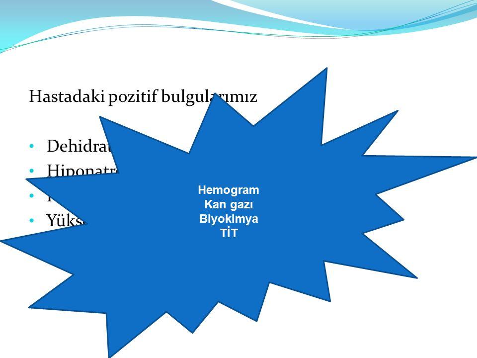 Hastadaki pozitif bulgularımız Dehidratasyon Hiponatremi Hiperkalemi