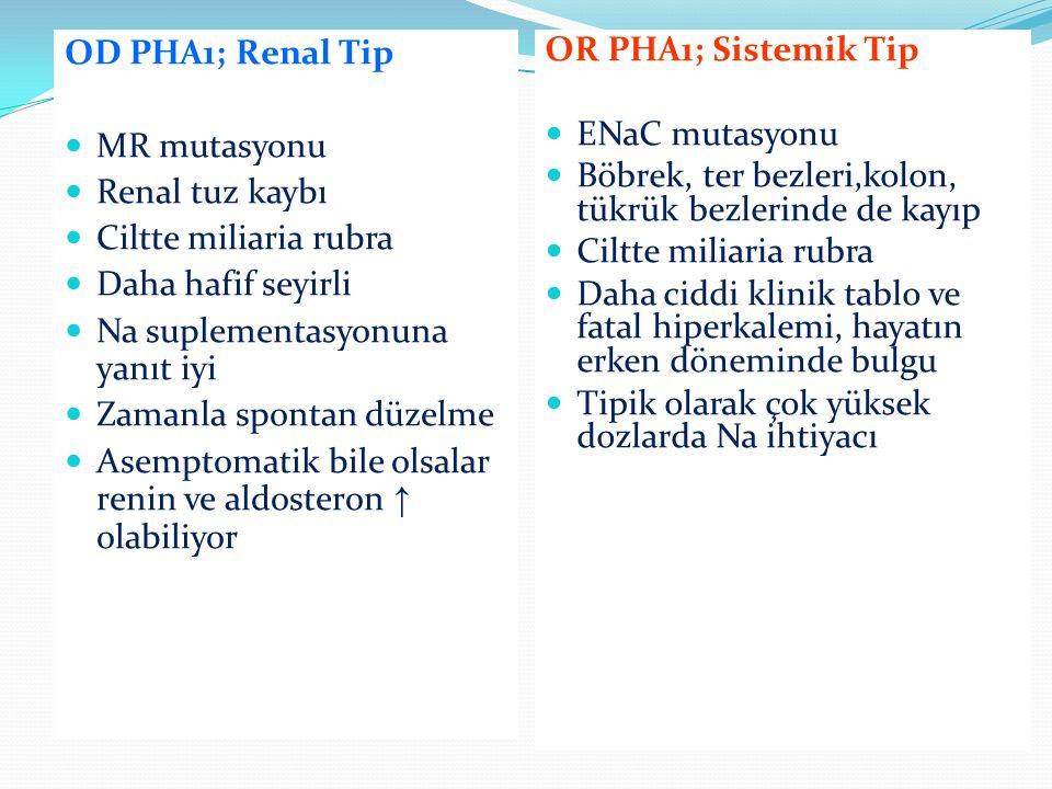 OD PHA1; Renal Tip MR mutasyonu. Renal tuz kaybı. Ciltte miliaria rubra. Daha hafif seyirli. Na suplementasyonuna yanıt iyi.