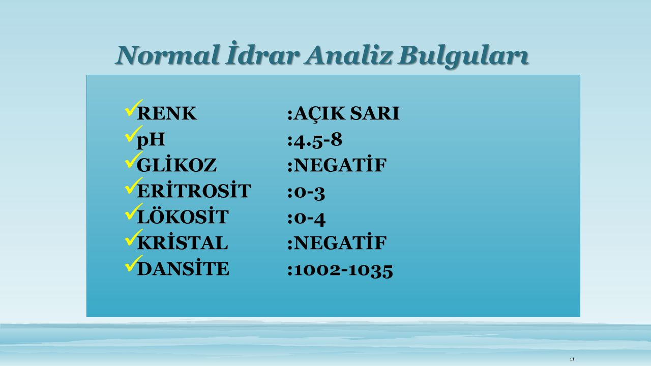 Normal İdrar Analiz Bulguları