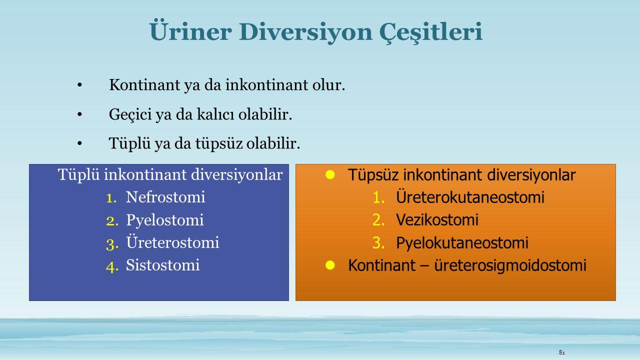 Üriner Diversiyon Çeşitleri
