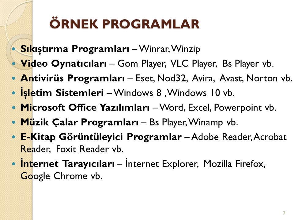 ÖRNEK PROGRAMLAR Sıkıştırma Programları – Winrar, Winzip