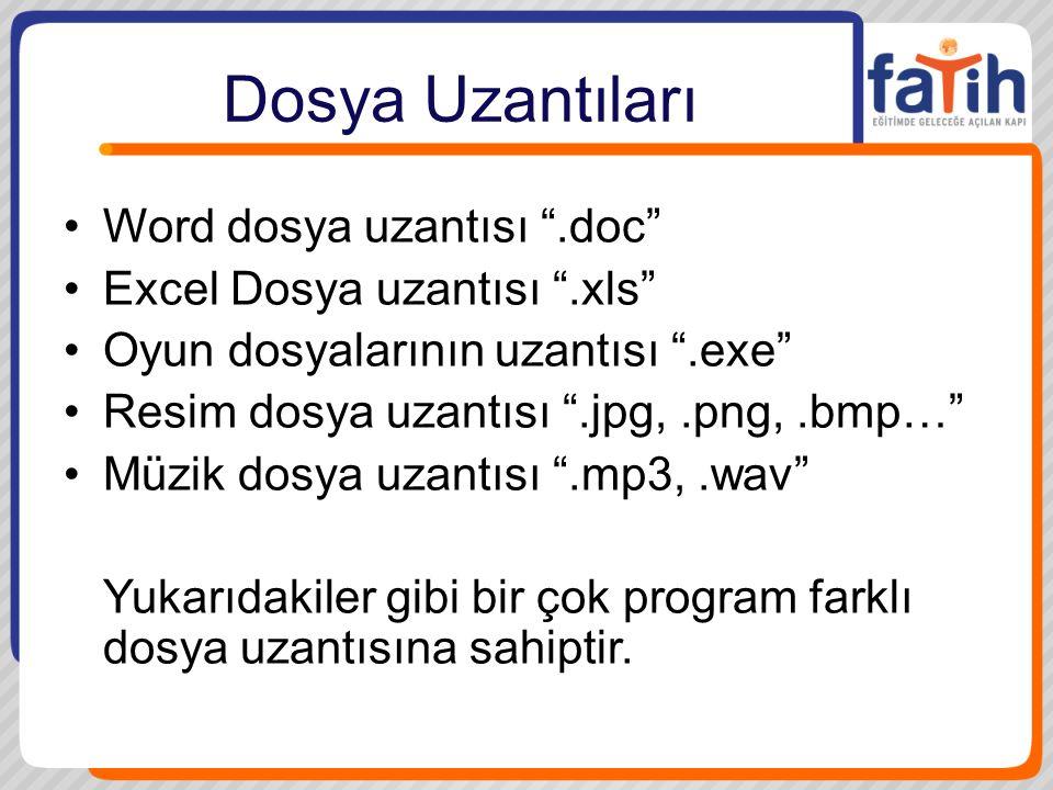 Dosya Uzantıları Word dosya uzantısı .doc
