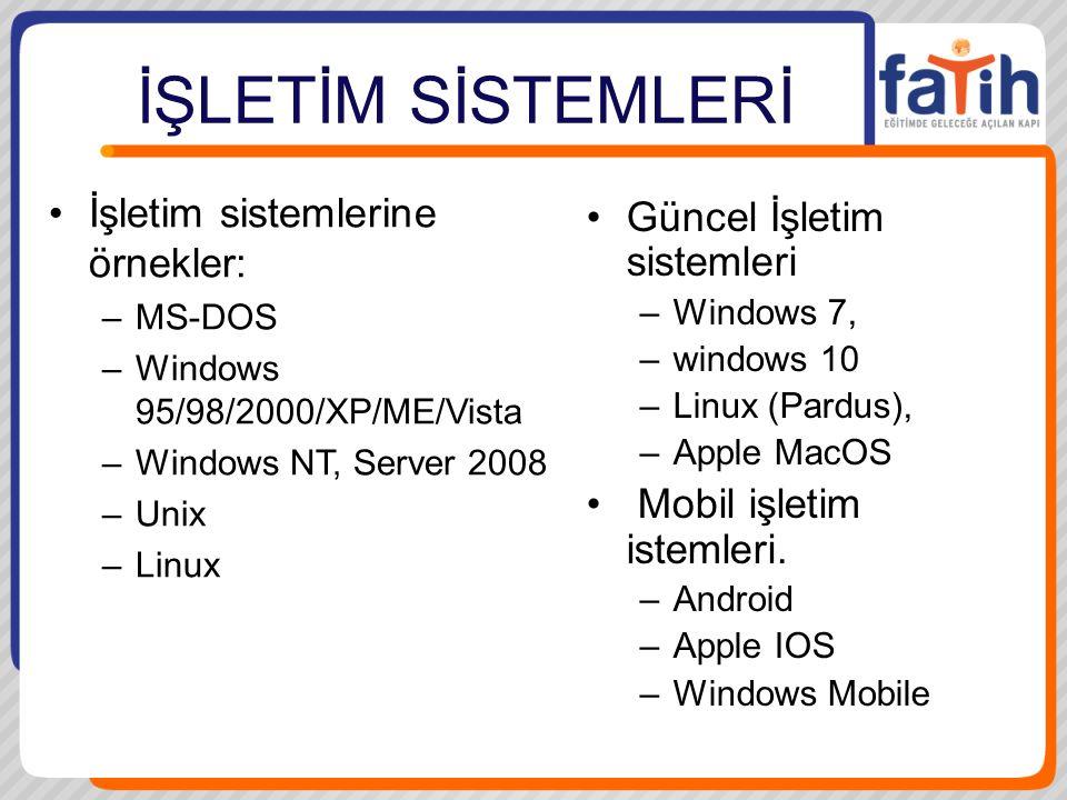 İŞLETİM SİSTEMLERİ İşletim sistemlerine örnekler: