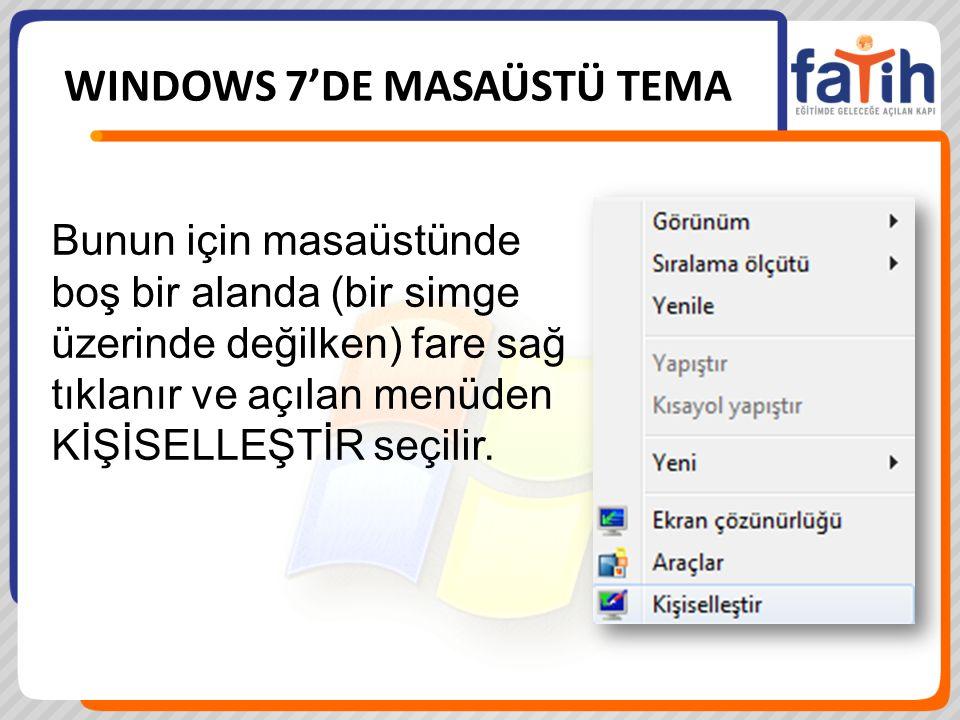 WINDOWS 7'DE MASAÜSTÜ TEMA