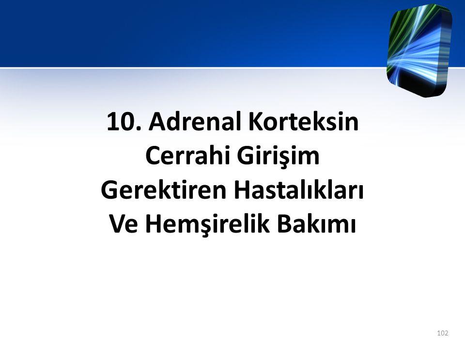 10. Adrenal Korteksin Cerrahi Girişim Gerektiren Hastalıkları Ve Hemşirelik Bakımı