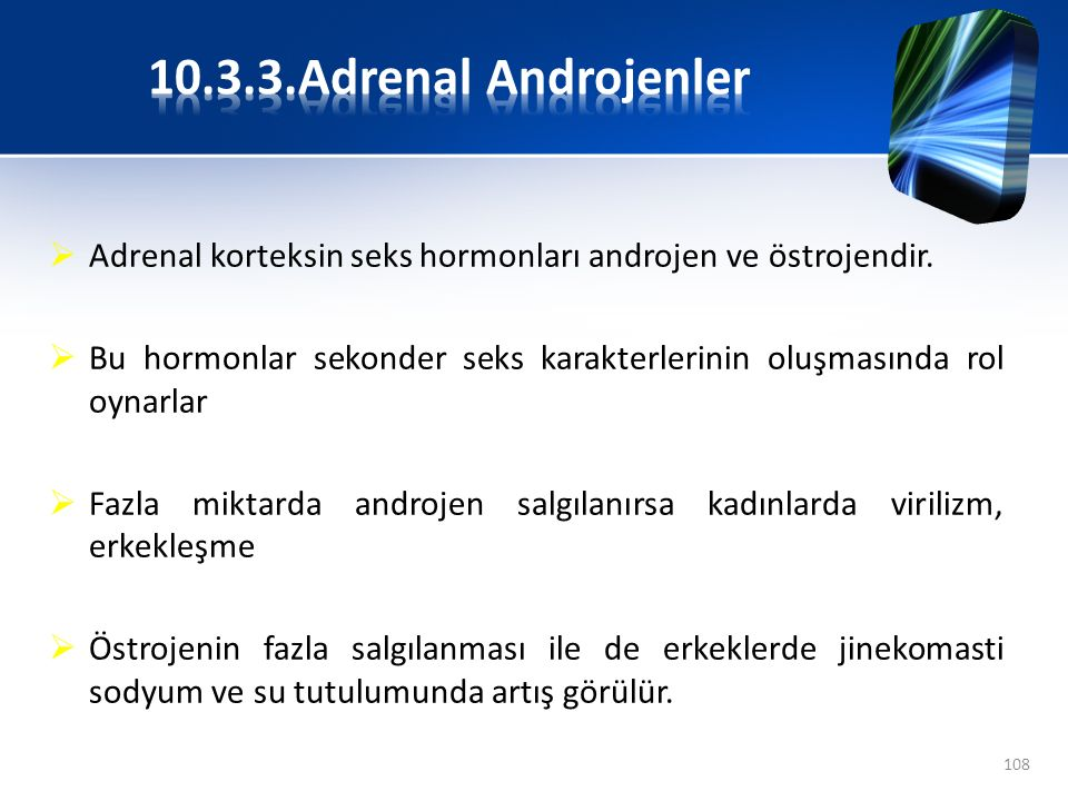 10.3.3.Adrenal Androjenler Adrenal korteksin seks hormonları androjen ve östrojendir.