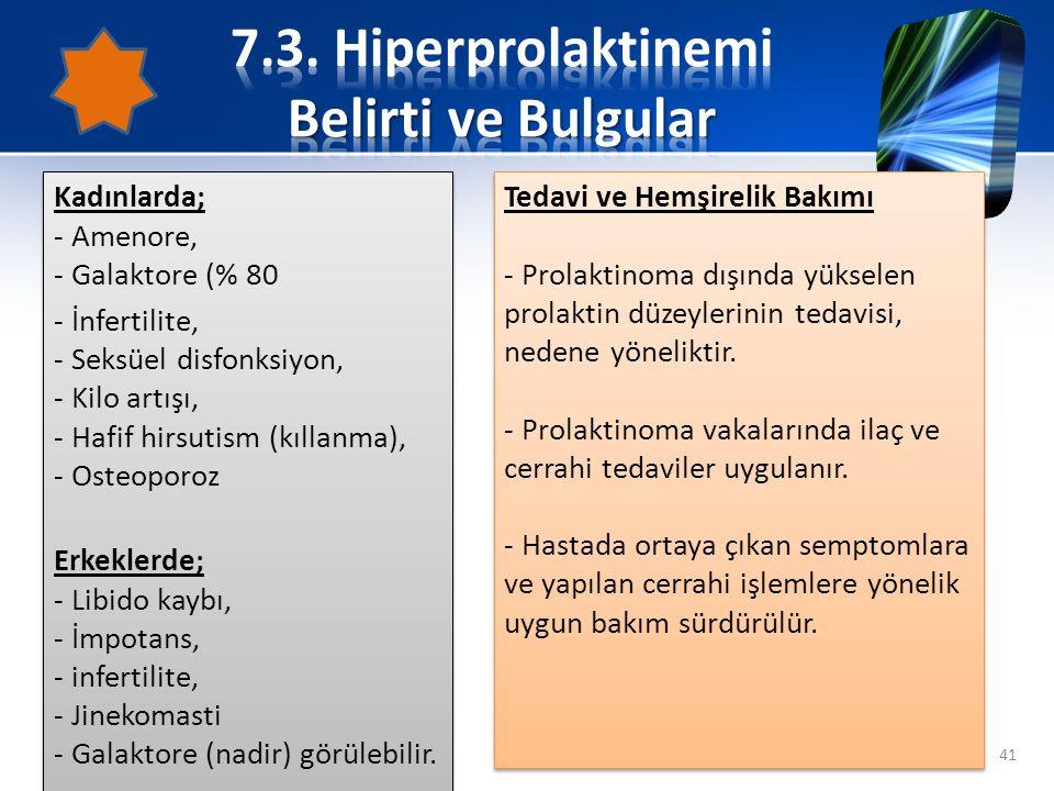 7.3. Hiperprolaktinemi Belirti ve Bulgular