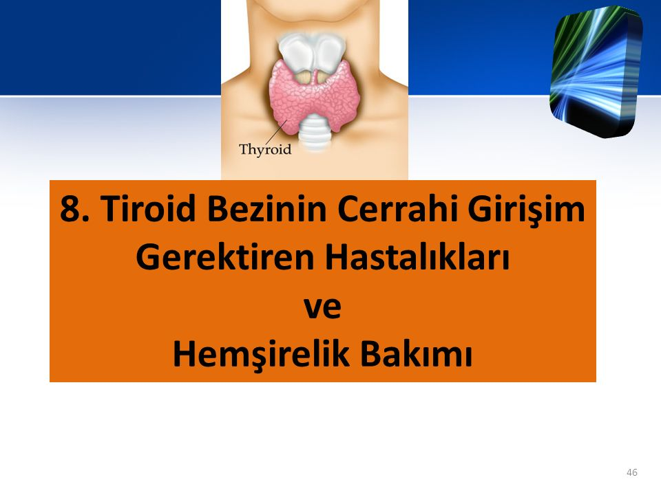 8. Tiroid Bezinin Cerrahi Girişim Gerektiren Hastalıkları