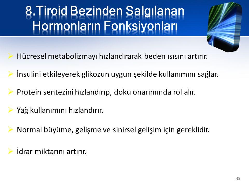 8.Tiroid Bezinden Salgılanan Hormonların Fonksiyonları