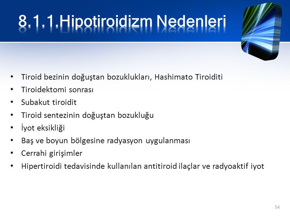 8.1.1.Hipotiroidizm Nedenleri