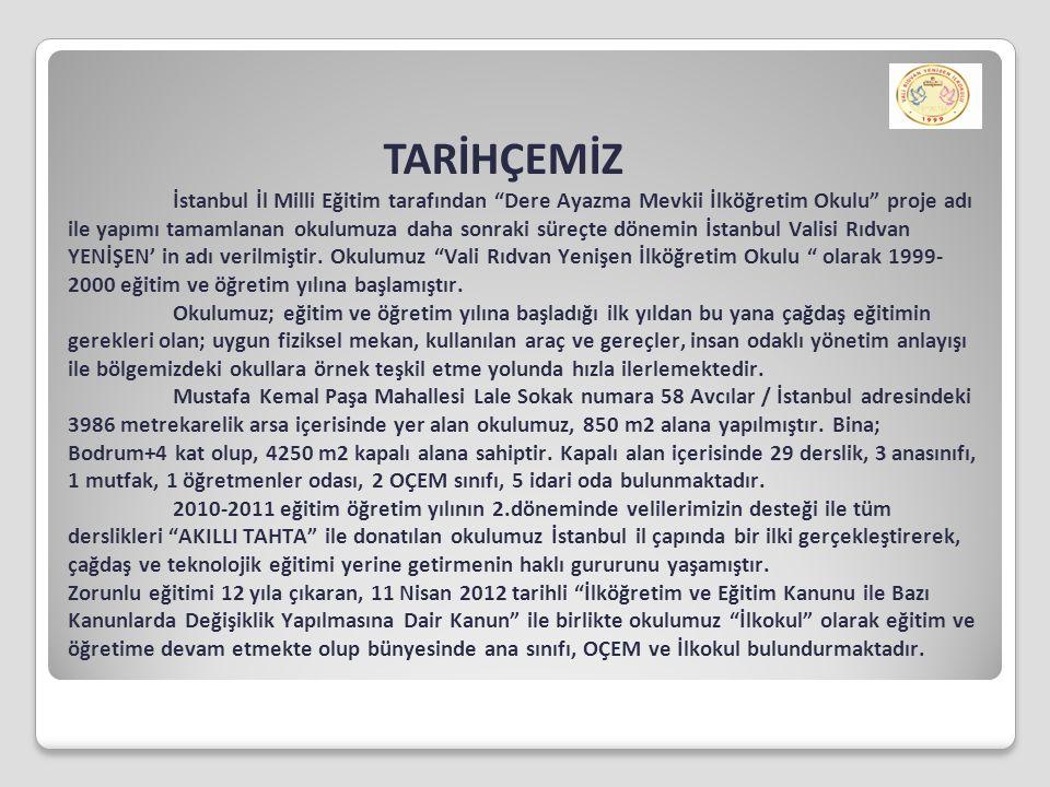 TARİHÇEMİZ İstanbul İl Milli Eğitim tarafından Dere Ayazma Mevkii İlköğretim Okulu proje adı ile yapımı tamamlanan okulumuza daha sonraki süreçte dönemin İstanbul Valisi Rıdvan YENİŞEN' in adı verilmiştir.
