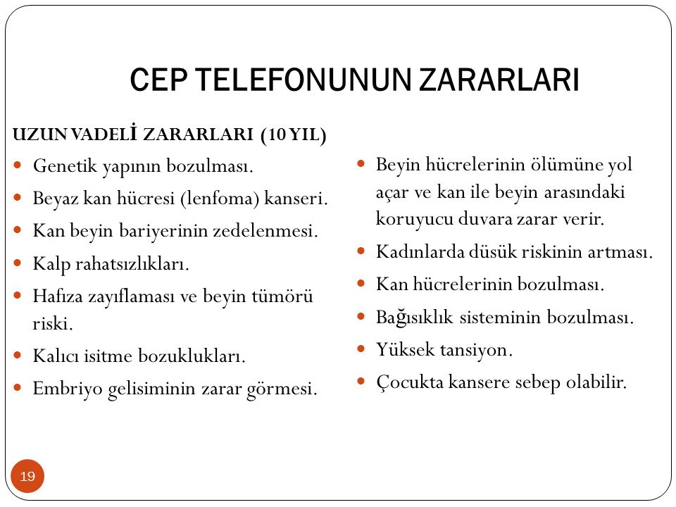 CEP TELEFONUNUN ZARARLARI