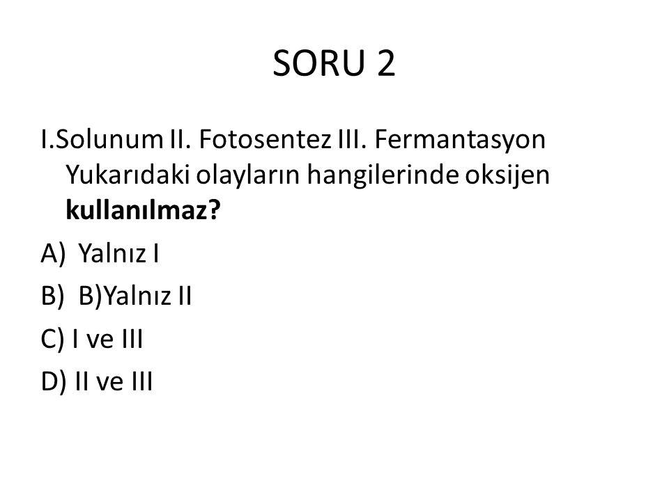 SORU 2 I.Solunum II. Fotosentez III. Fermantasyon Yukarıdaki olayların hangilerinde oksijen kullanılmaz