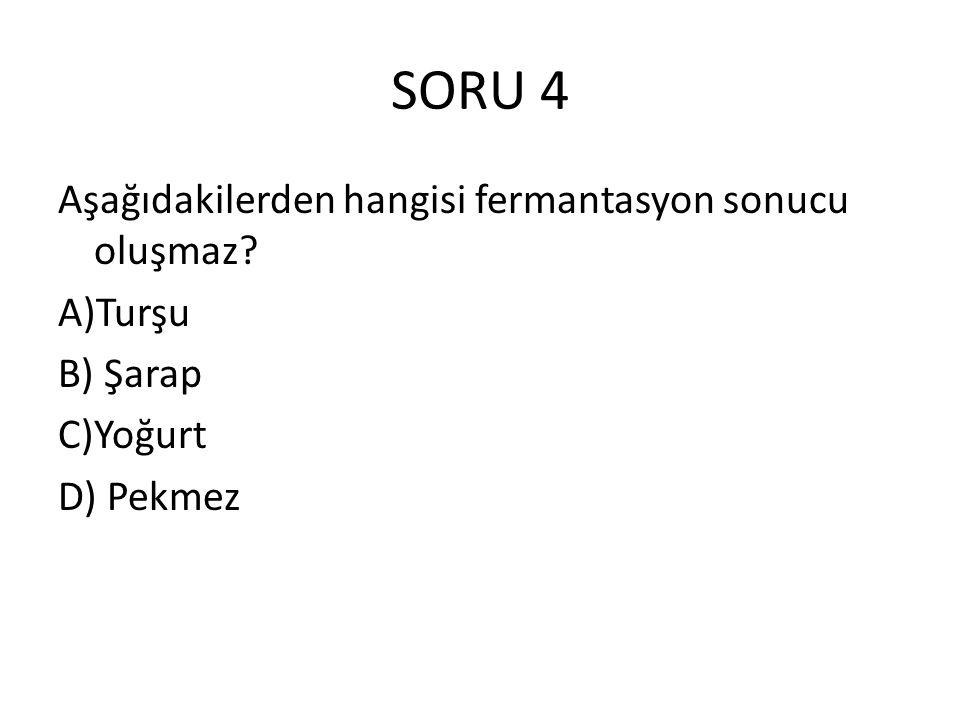 SORU 4 Aşağıdakilerden hangisi fermantasyon sonucu oluşmaz A)Turşu