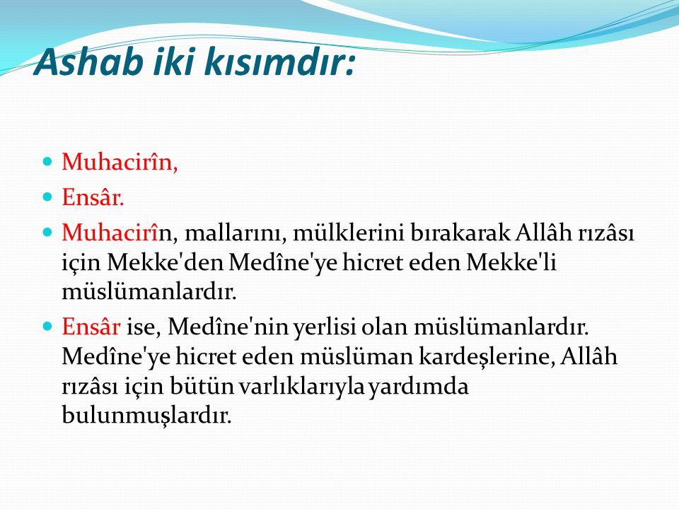 Ashab iki kısımdır: Muhacirîn, Ensâr.