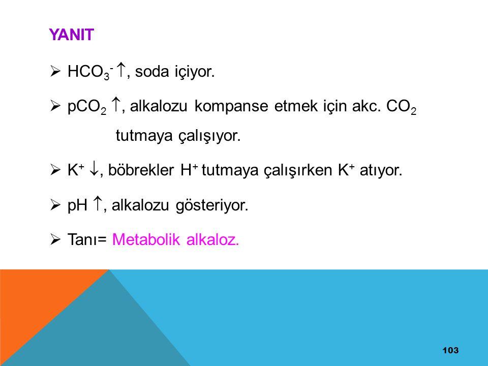pCO2 , alkalozu kompanse etmek için akc. CO2 tutmaya çalışıyor.