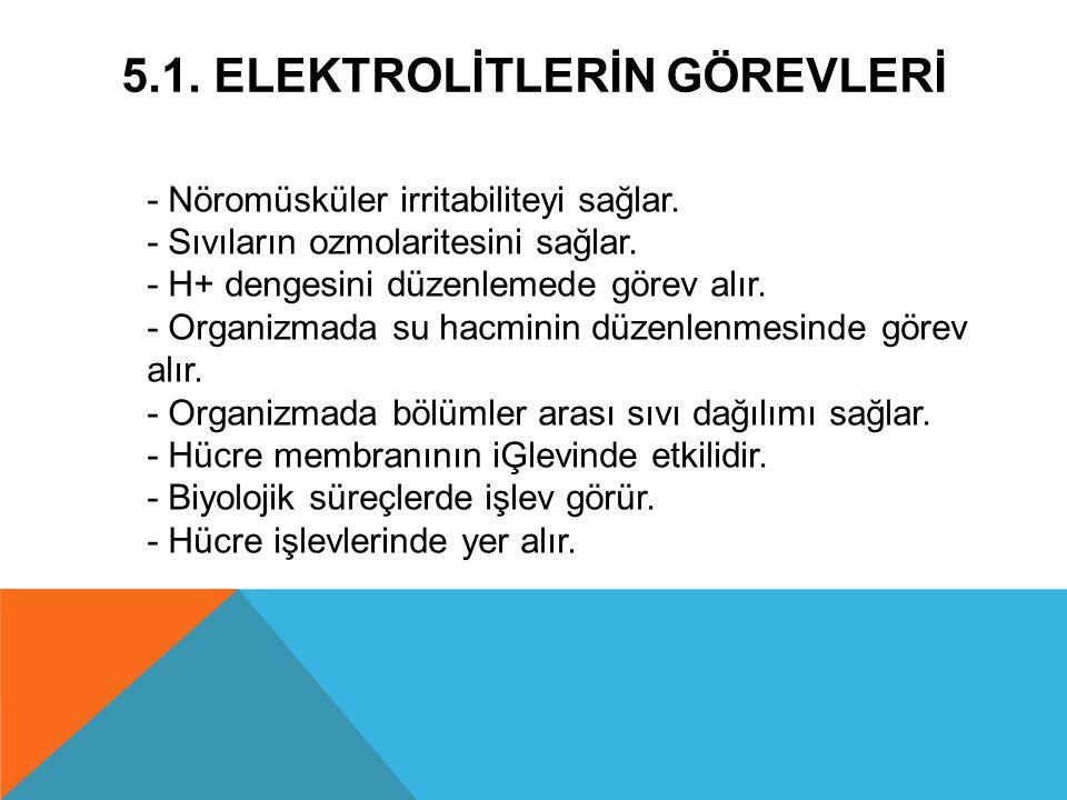 5.1. Elektrolİtlerİn Görevlerİ