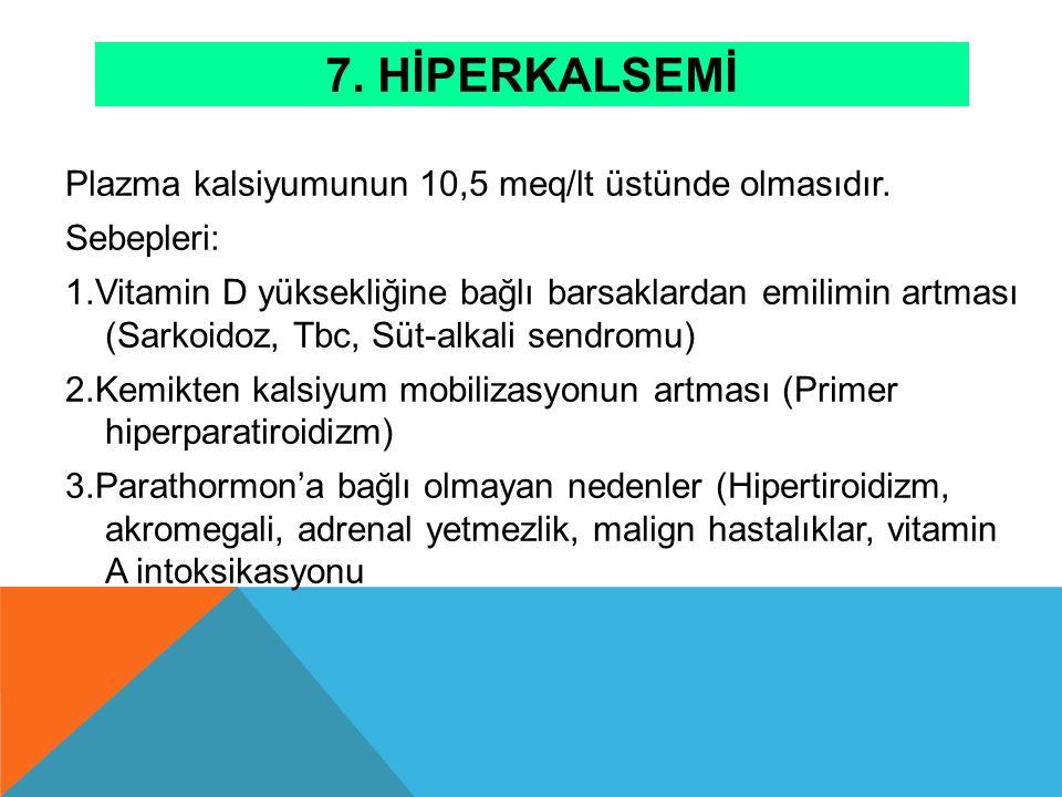 7. Hİperkalsemİ Plazma kalsiyumunun 10,5 meq/lt üstünde olmasıdır.