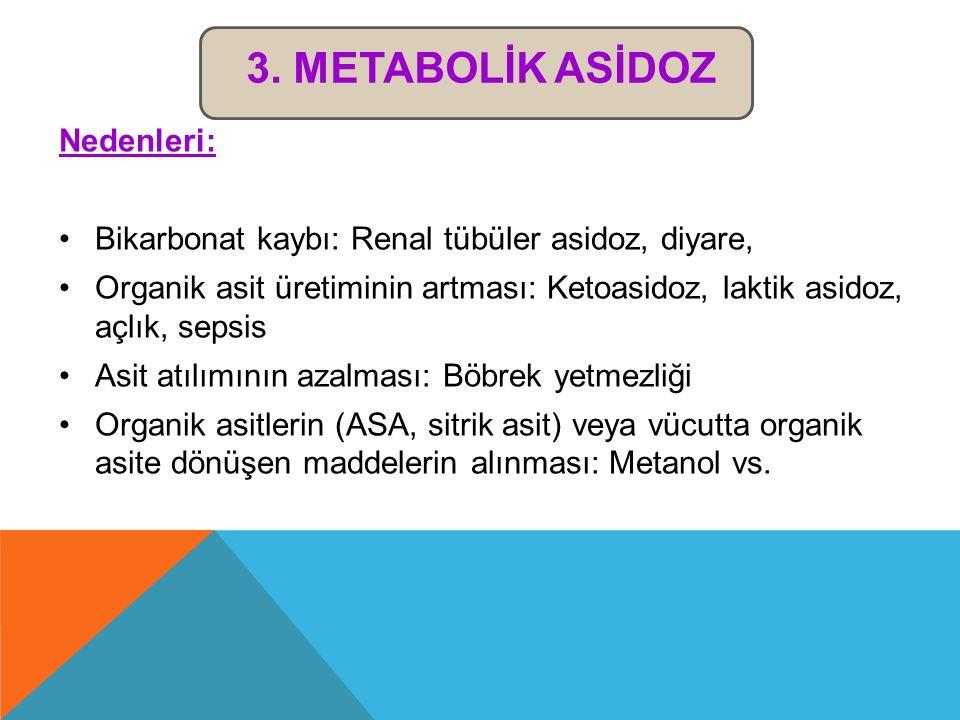 3. Metabolİk Asİdoz Nedenleri: