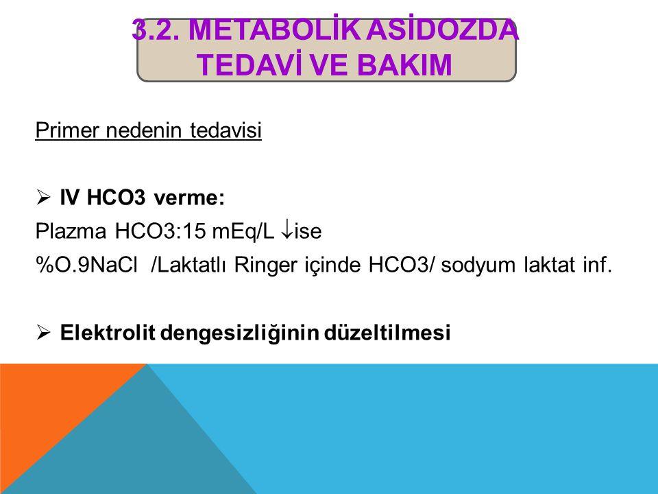 3.2. Metabolİk Asİdozda Tedavİ ve BakIm