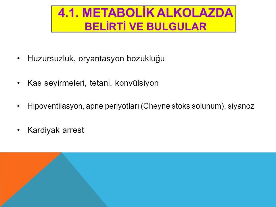 4.1. Metabolİk ALKOLAZDA BELİRTİ VE BULGULAR