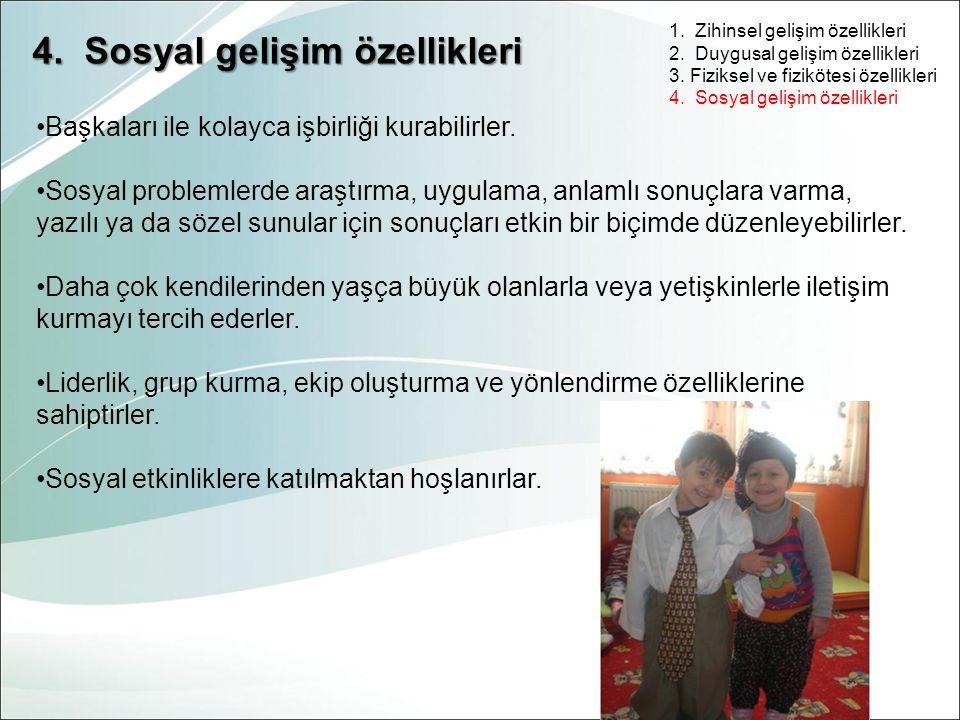 4. Sosyal gelişim özellikleri