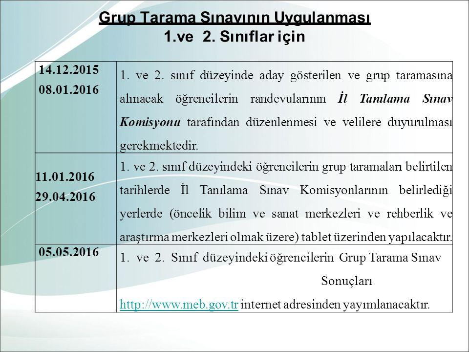 Grup Tarama Sınavının Uygulanması 1.ve 2. Sınıflar için