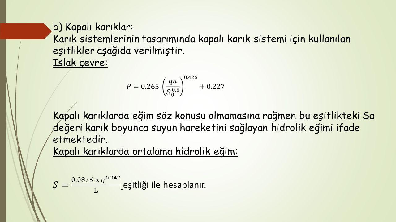 b) Kapalı karıklar: Karık sistemlerinin tasarımında kapalı karık sistemi için kullanılan eşitlikler aşağıda verilmiştir.