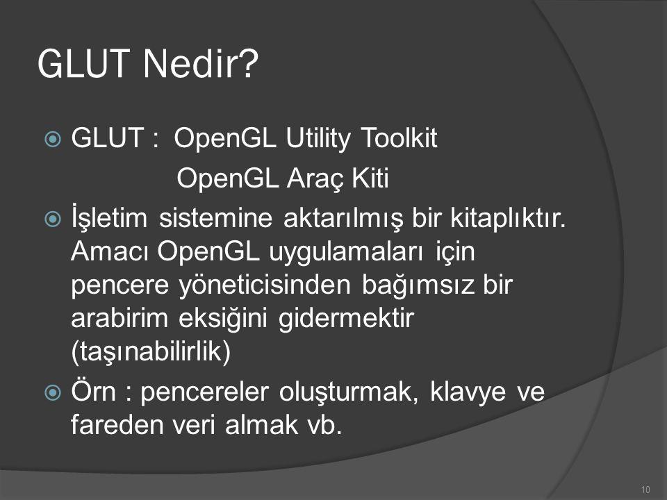 GLUT Nedir GLUT : OpenGL Utility Toolkit OpenGL Araç Kiti