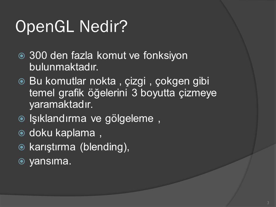 OpenGL Nedir 300 den fazla komut ve fonksiyon bulunmaktadır.