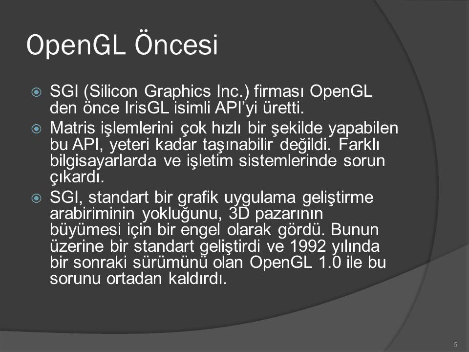 OpenGL Öncesi SGI (Silicon Graphics Inc.) firması OpenGL den önce IrisGL isimli API'yi üretti.
