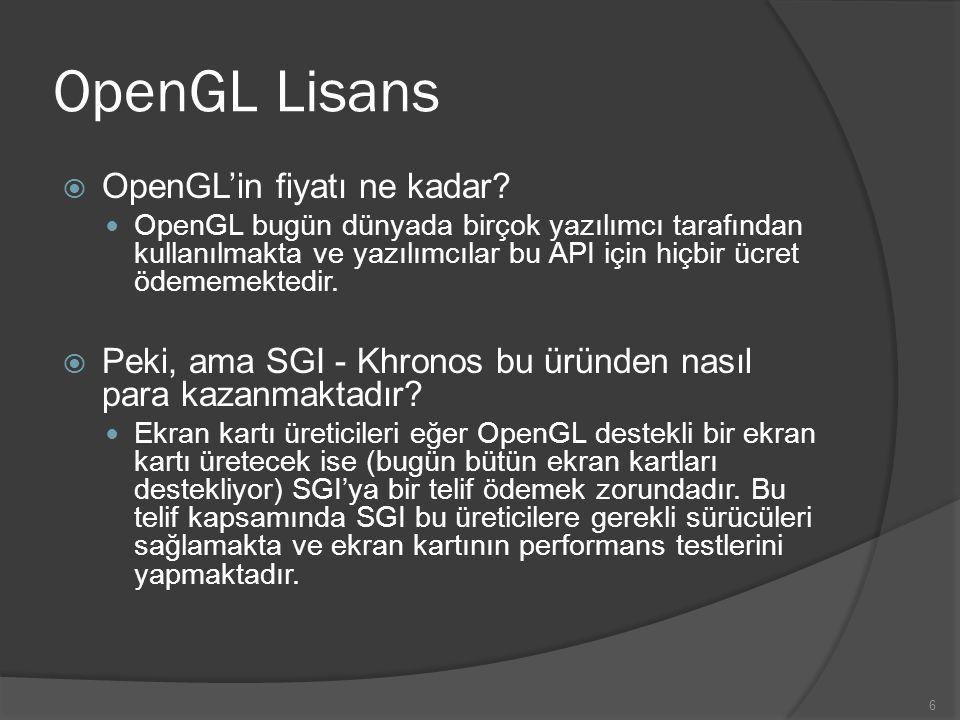OpenGL Lisans OpenGL'in fiyatı ne kadar