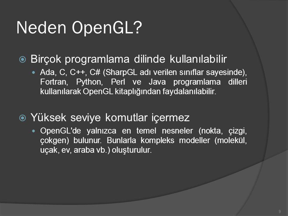 Neden OpenGL Birçok programlama dilinde kullanılabilir
