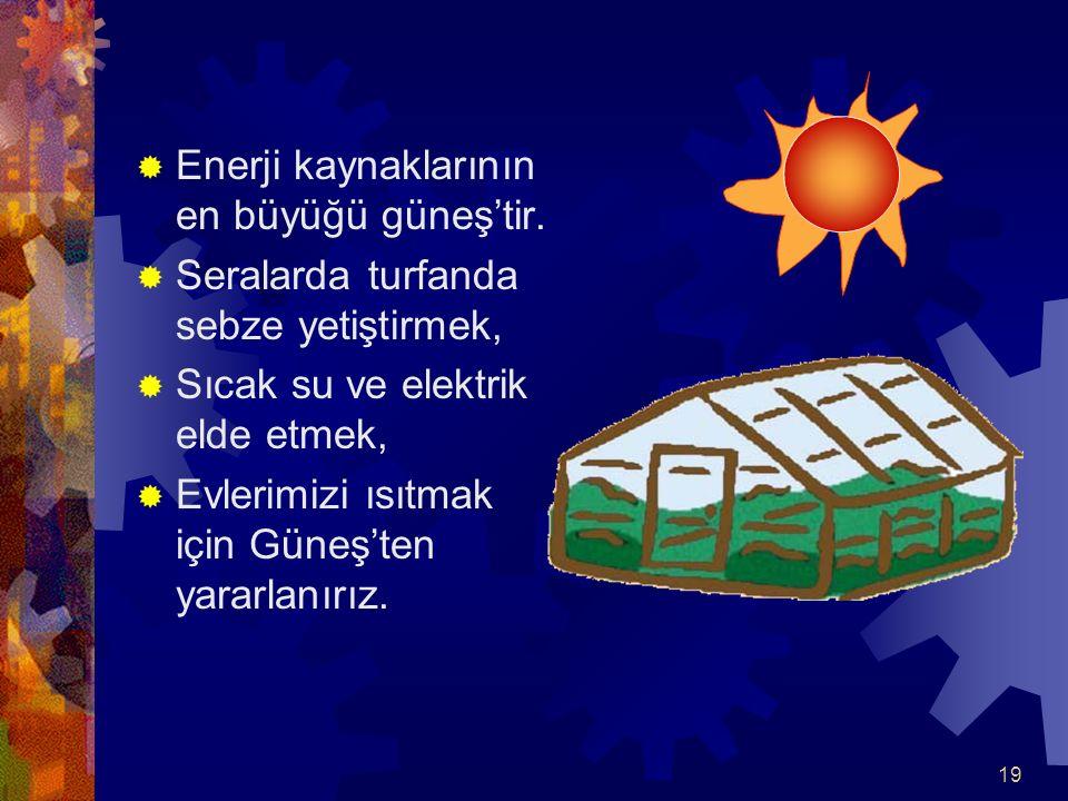 Enerji kaynaklarının en büyüğü güneş'tir.