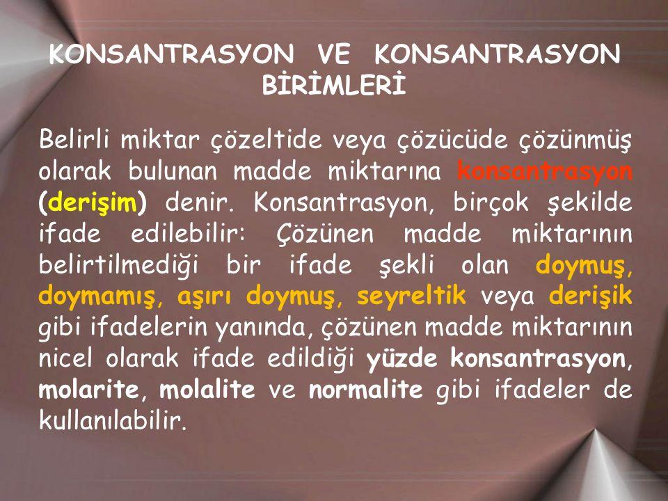 KONSANTRASYON VE KONSANTRASYON BİRİMLERİ