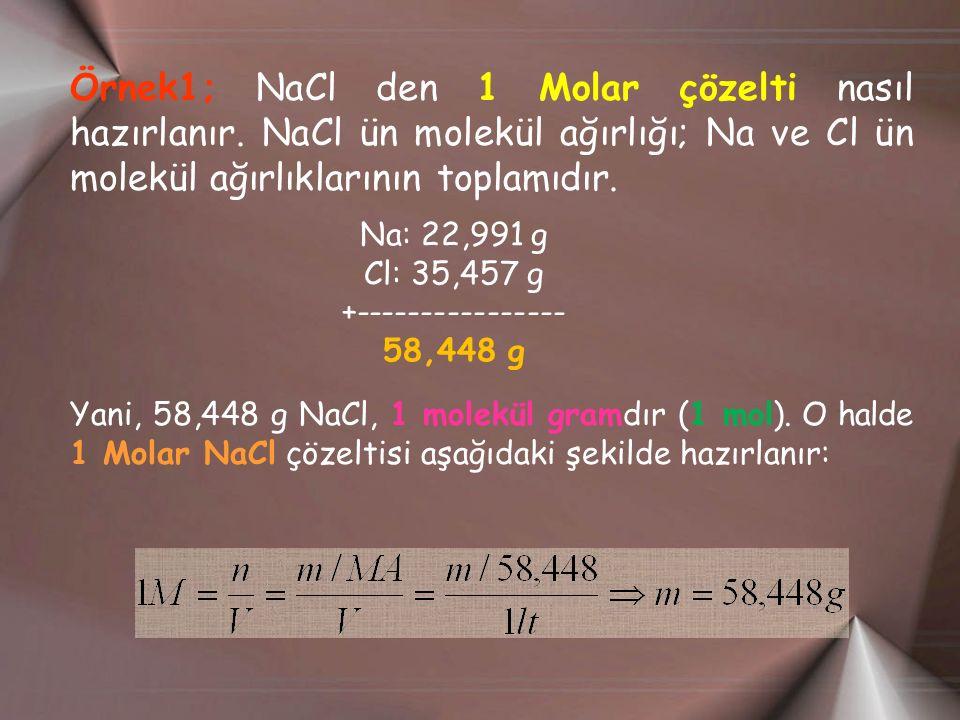 Örnek1; NaCl den 1 Molar çözelti nasıl hazırlanır