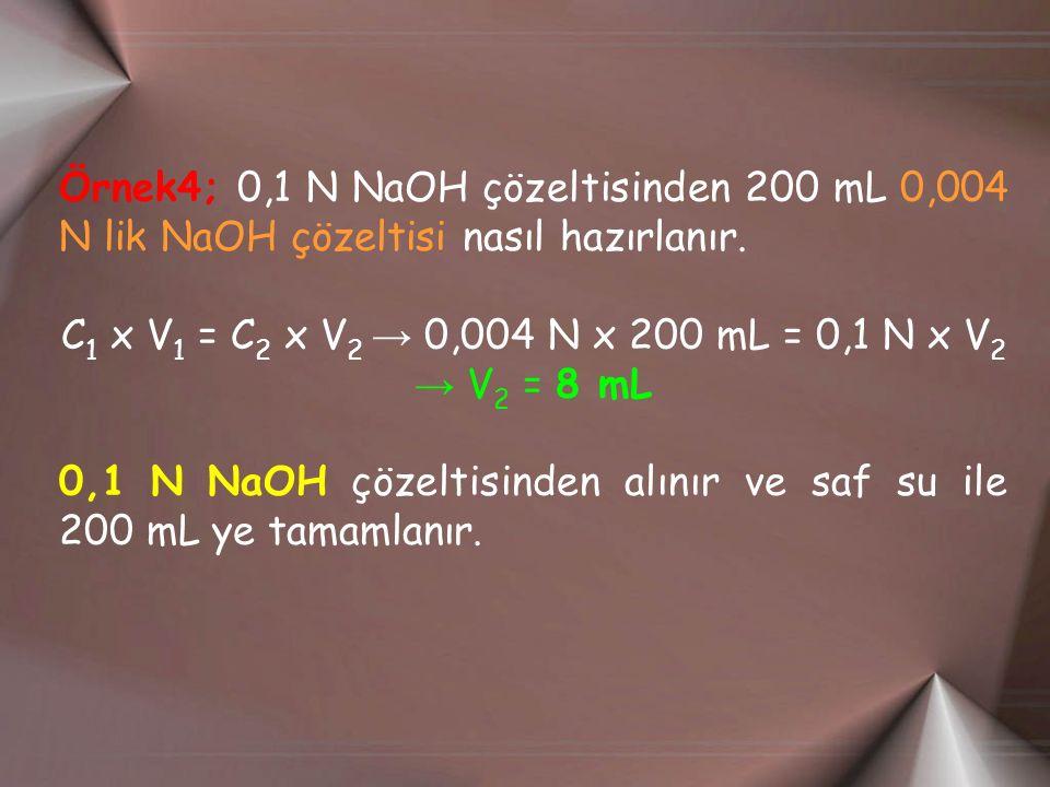 C1 x V1 = C2 x V2 → 0,004 N x 200 mL = 0,1 N x V2 → V2 = 8 mL