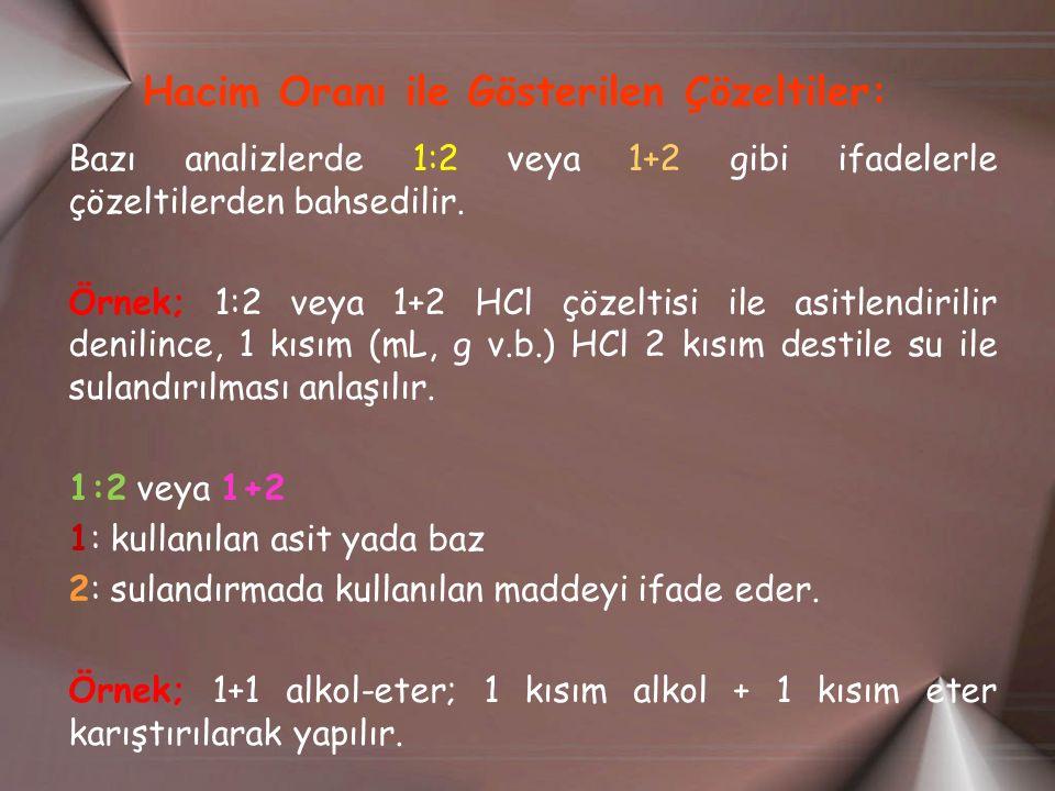 Hacim Oranı ile Gösterilen Çözeltiler: