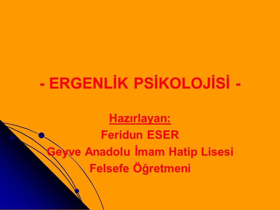 - ERGENLİK PSİKOLOJİSİ - Geyve Anadolu İmam Hatip Lisesi