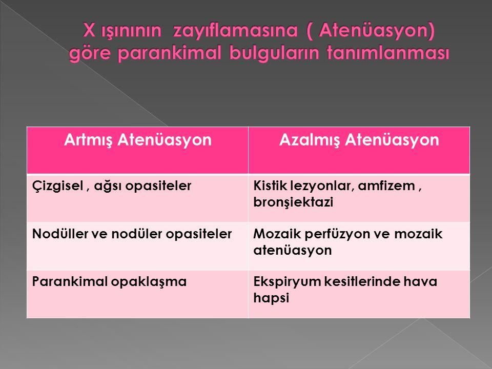 X ışınının zayıflamasına ( Atenüasyon) göre parankimal bulguların tanımlanması