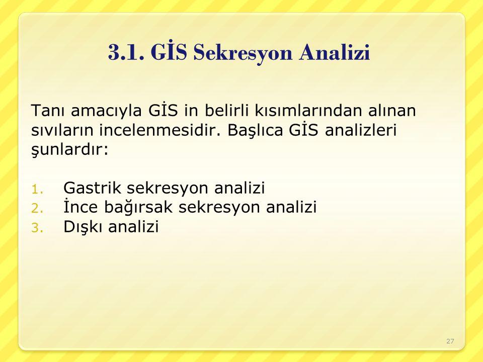 3.1. GİS Sekresyon Analizi Tanı amacıyla GİS in belirli kısımlarından alınan. sıvıların incelenmesidir. Başlıca GİS analizleri.